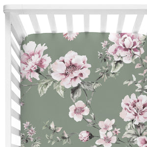 saylor's sage and blush floral soft stretchy knit crib sheet