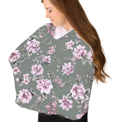 saylor's sage and blush floral soft stretchy knit multi-use nursing cover
