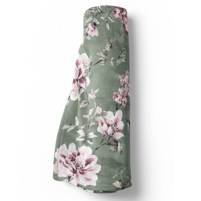 saylor's sage and blush soft minky stroller toddler throw blanket