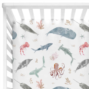 sea life ocean themed crib sheet
