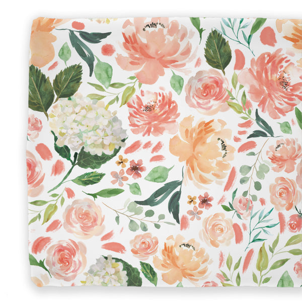 peach and coral watercolor floral changing pad cover