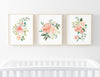 coral and peach floral watercolor art prints