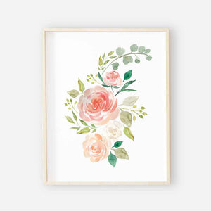 secret garden watercolor floral nursery art print