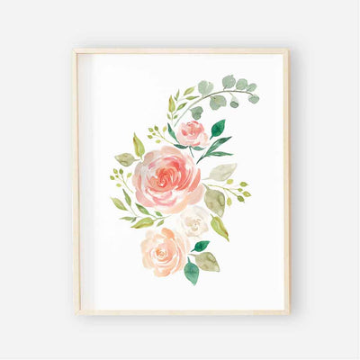 secret garden floral watercolor peach and coral print