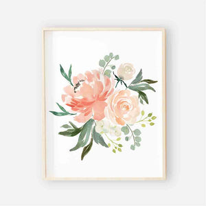 coral and peach watercolor floral art print
