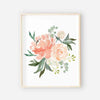 group of watercolor peach and coral floral nursery art print