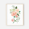 bunch of peach and coral floral nursery art piece