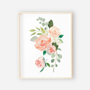 Secret Garden Watercolor floral peach and coral art print
