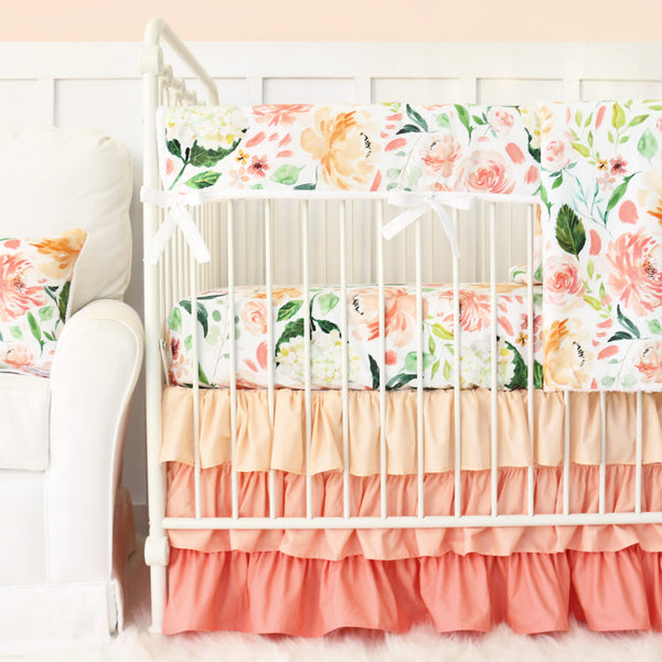 Secret Garden Peach and coral bedding set