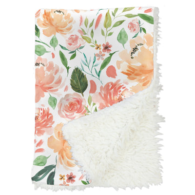watercolor floral in peach and coral baby blanket