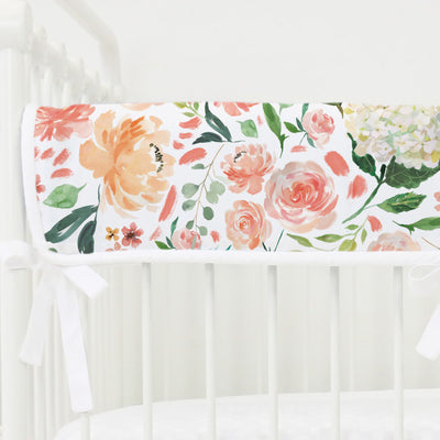 peach and coral watercolor floral crib rail cover