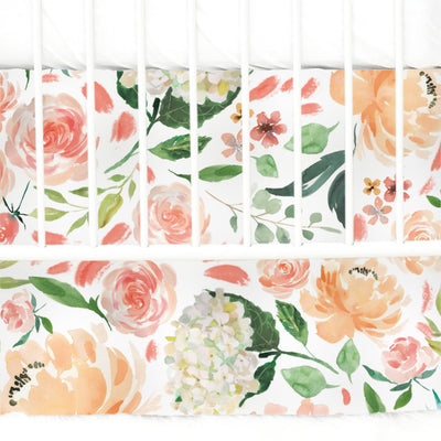 peach and coral watercolor floral crib skirt