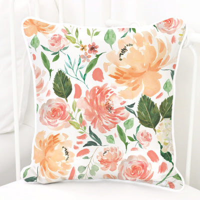 peach and coral watercolor floral nursery square pillow