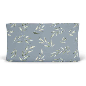 skye's dusty blue leaves soft knit changing pad cover
