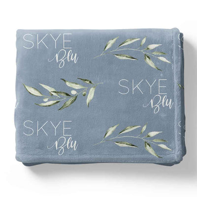 Skye's Dusty Blue Leaves Personalized Toddler Blanket