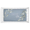 skye's dusty blue leaves soft knit personalized crib sheet