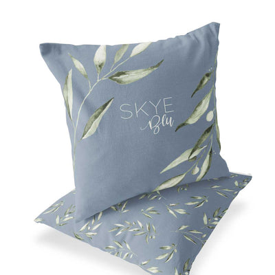 skye's dusty blue personalized throw pillow