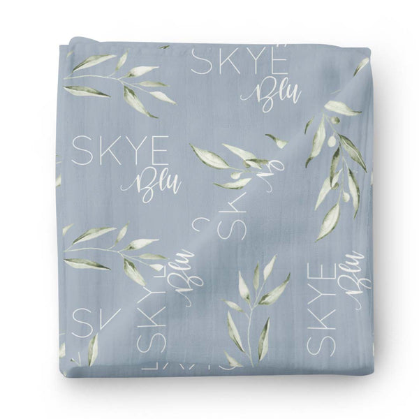 personalized dusty blue swaddle gender neutral