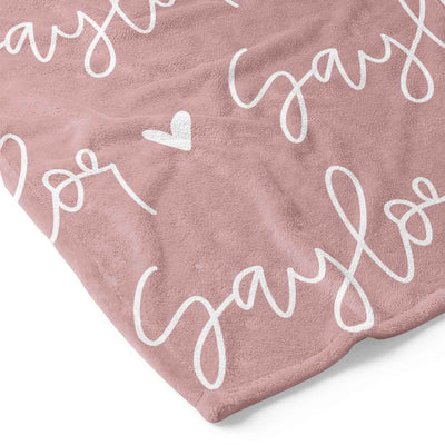 Custom Solid Color w/ Hearts Personalized Toddler Blanket