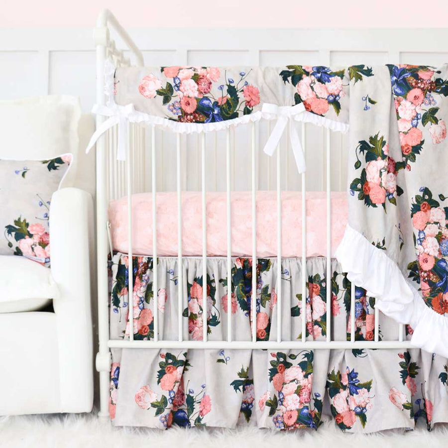 stellas taupe floral baby girl crib bedding set - Baby Girl Bedding Sets