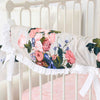 Stella's Taupe Floral Scalloped Crib Rail Cover Teething Guard