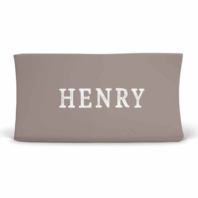 Personalized Baby Name Dark Taupe Stone Color Jersey Knit Changing Pad Cover with Block Print