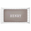 Personalized Baby Name Dark Taupe Stone Color Jersey Knit Crib Sheet in Block Print Style