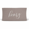 Personalized Baby Name Dark Taupe Stone Color Jersey Knit Changing Pad Cover in Script