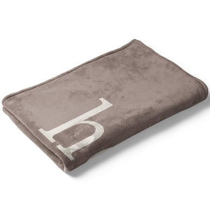 Stone Dark Taupe Color Story Personalized Name Soft Fleece Toddler Throw Blanket