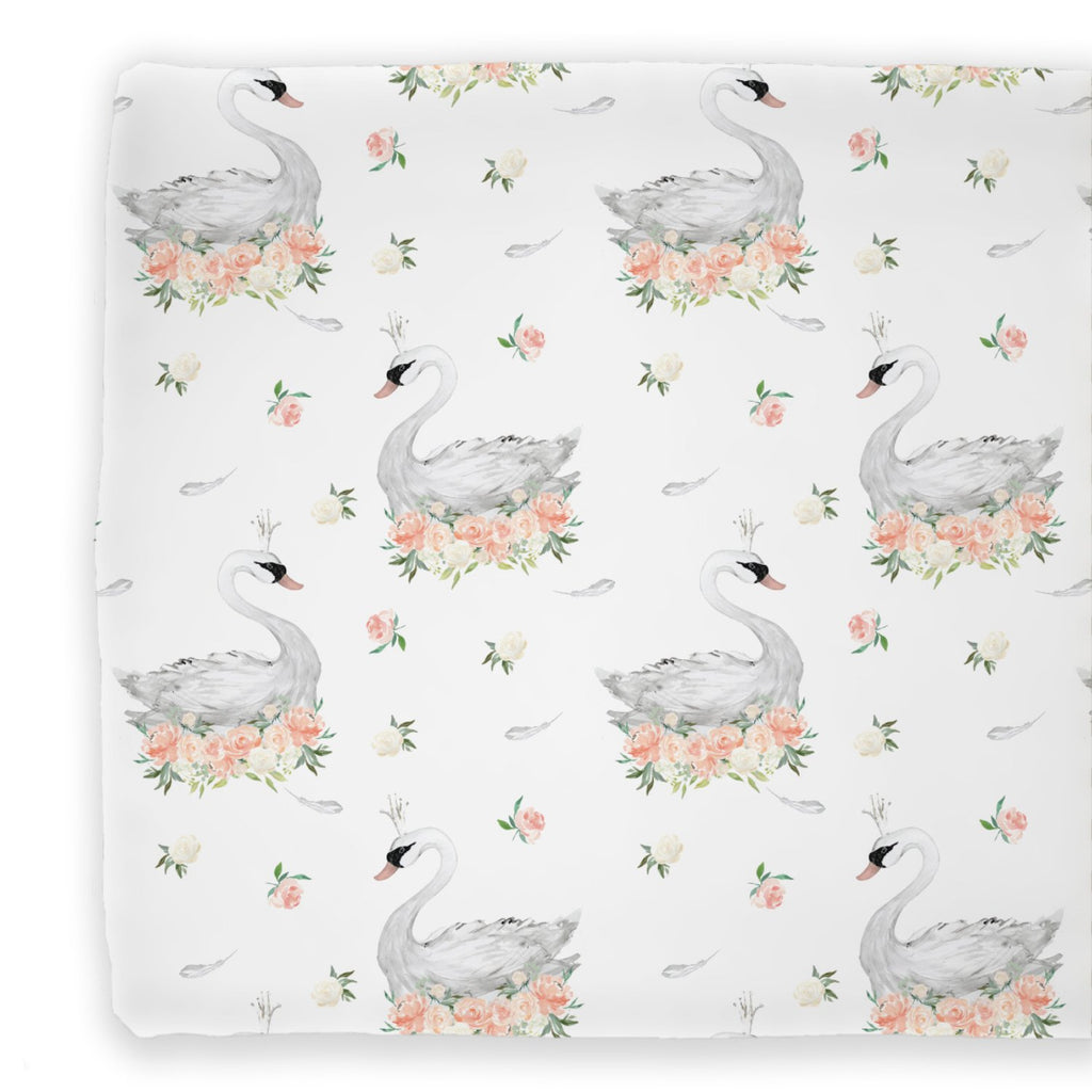 peach and gray floral swan changing pad cover