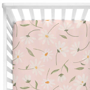 daisy print crib sheet blush pink