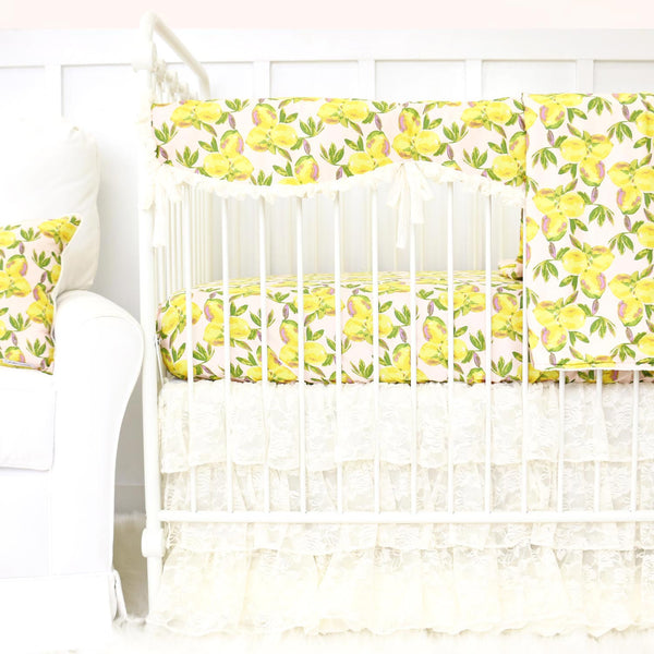 Sweet Lemon & Lace Crib Bedding with Crib Rail Cover
