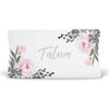 Tatum's Taupe Pink and Ivory Floral Personalized Fitted Changing Pad Cover