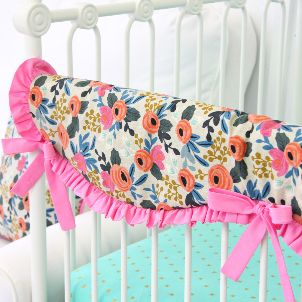 Teagan's Pink Boho Floral Scalloped Fabric Teething Guard-Crib Rail Cover
