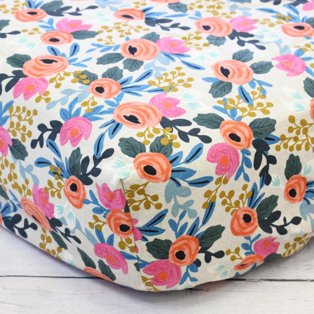 Teagan's Pink and Coral Floral Crib Sheet