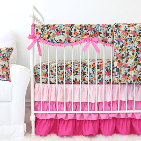 Teagan's Pink Floral Bumperless Baby Bedding