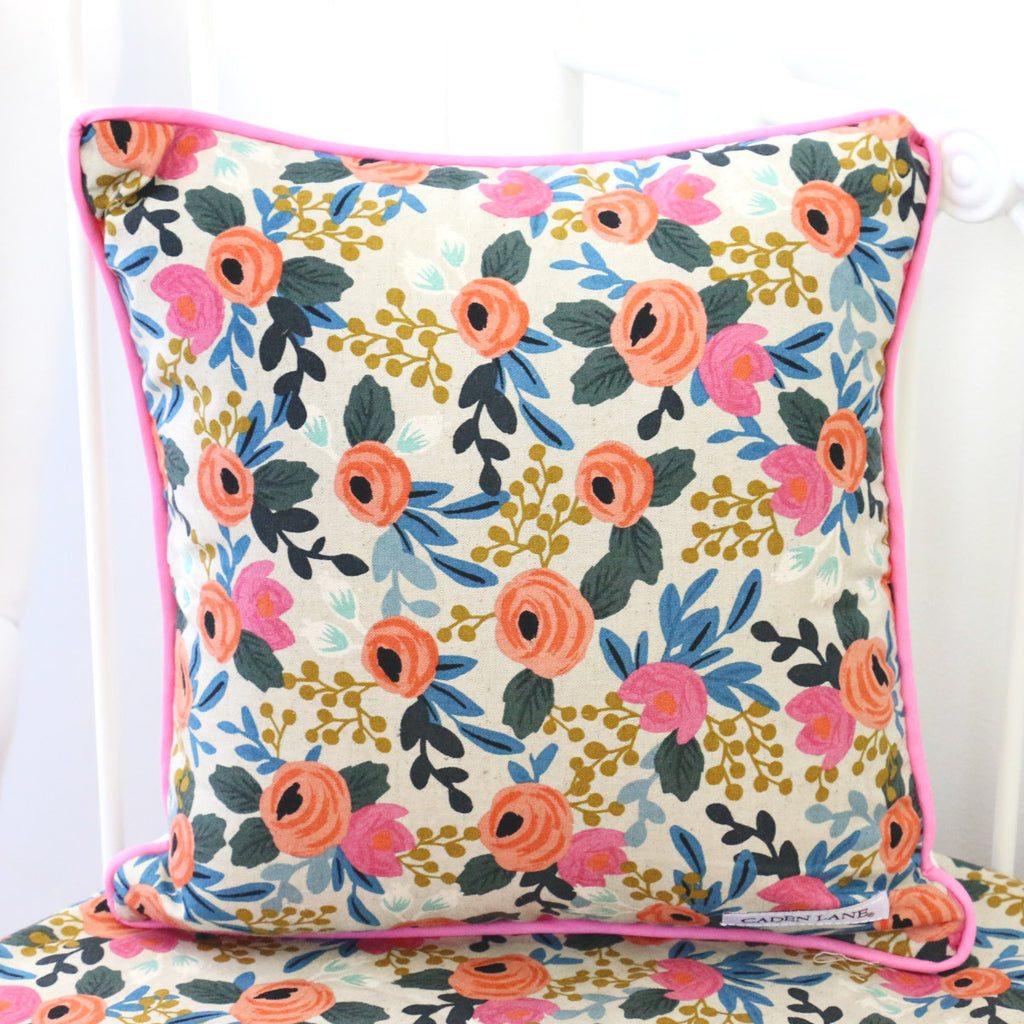 Teagan's Pink Floral Square Pillow Cover