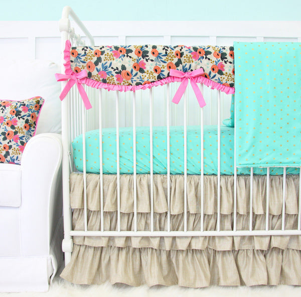 Teagan's Teal Boho Floral Bumperless Crib Bedding Collection