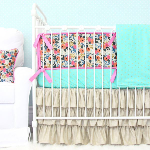 Teagan's Teal Boho Floral Crib Bedding Collection