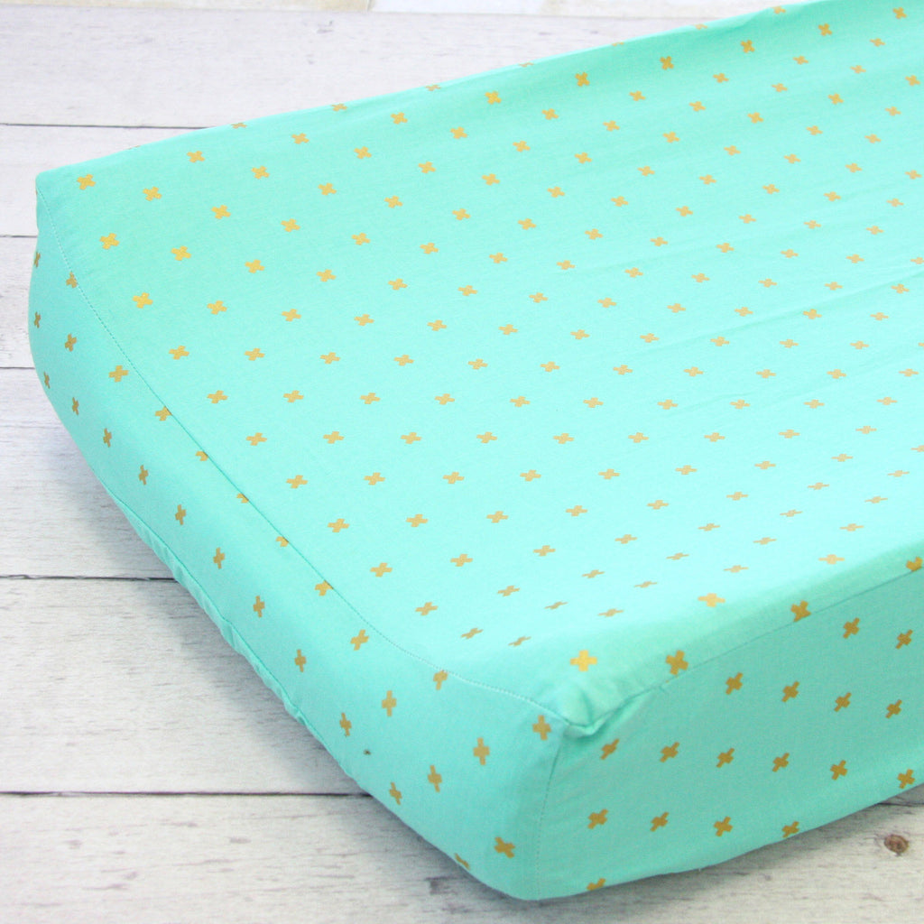 Modern Boho Teal-Gold Plus Sign Cotton Changing Pad Cover