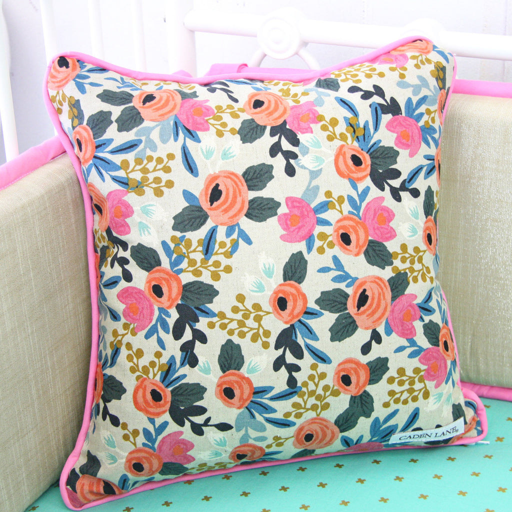 Boho Floral print nursery accent pillow