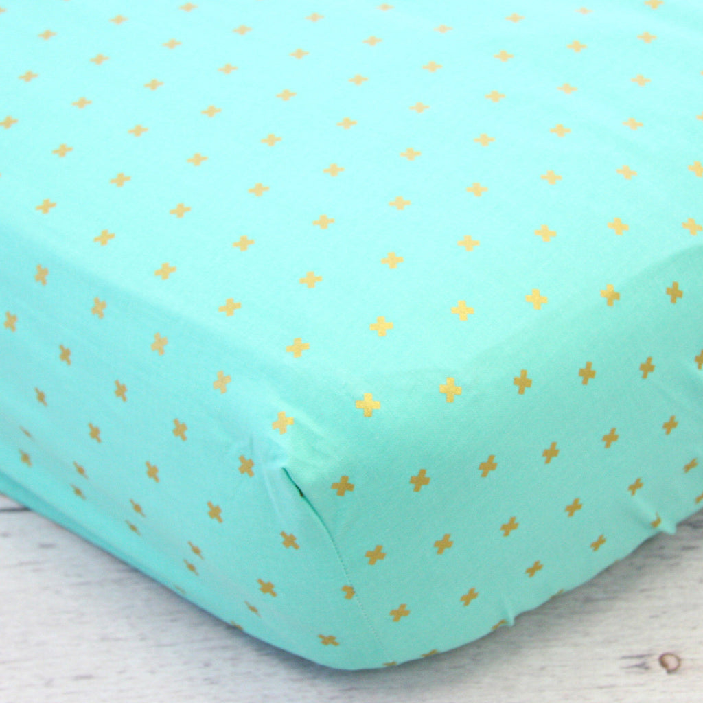Teagan's Teal Boho Plus Signs crib sheet