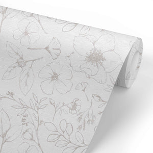 Tinley's Taupe Floral Removable Wallpaper