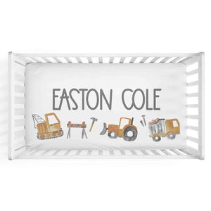 trucks and tractor personalized crib sheet