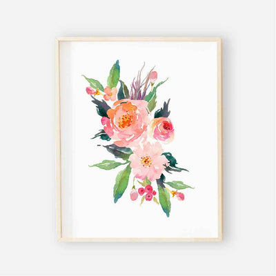 colorful watercolor floral nursery bundle art