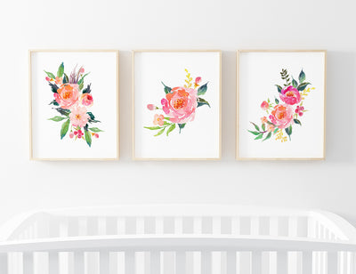 bundle of watercolor floral nursery art