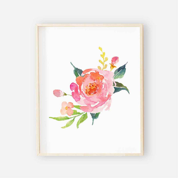 Watercolor colorful Floral nursery art print