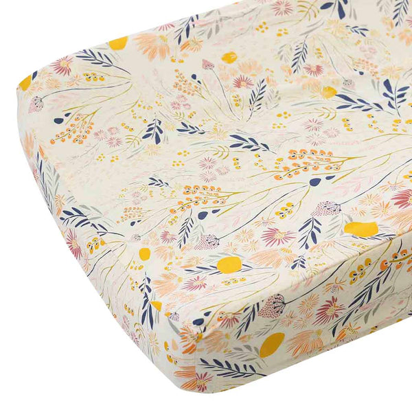 Yellow, peach, pink, navy boho floral changing pad cover
