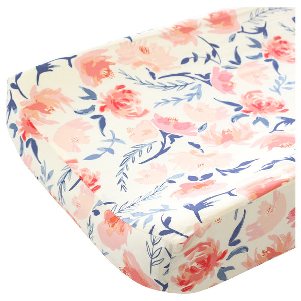 Willow's Blush Pink & Navy Blue Sweet Floral Contoured Changing Pad Cover