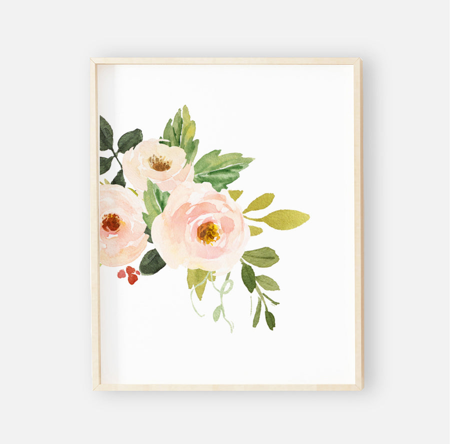 Winnie's Woodland Blush Floral Digital Wall Art